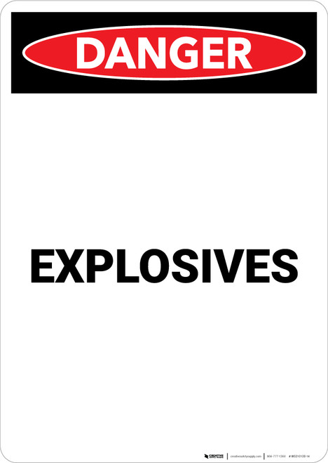 Explosives - Portrait Wall Sign