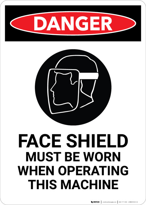 Face Shield Must be Worn with Icon - Portrait Wall Sign