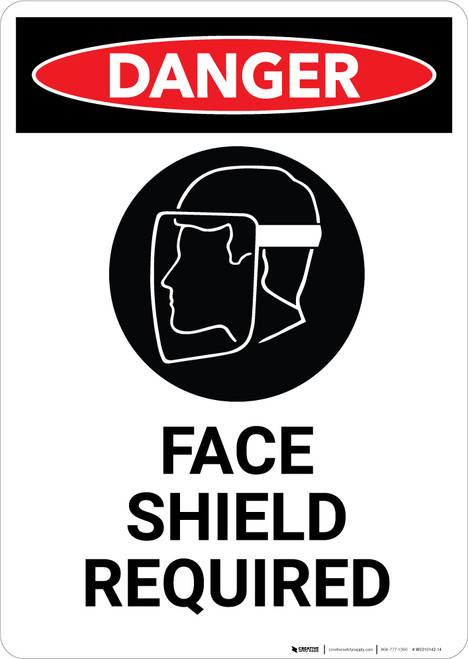 Face Shield Required with Icon - Portrait Wall Sign