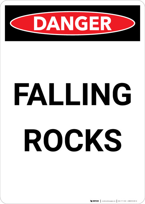 Falling Rocks - Portrait Wall Sign