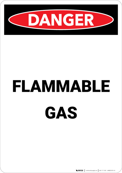Flammable Gas - Portrait Wall Sign