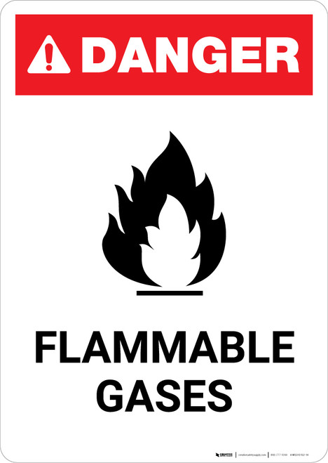 Flammable Gases with Icon - Portrait Wall Sign