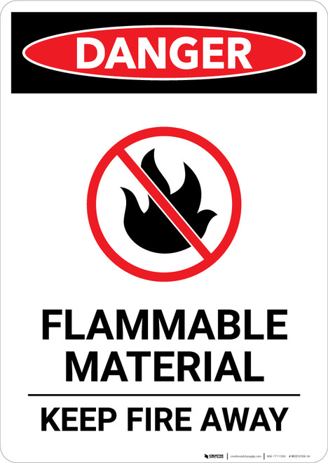 Flammable Material Sign Keep Away With Icon - Portrait Wall Sign