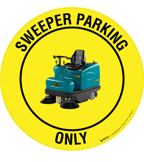 Sweeper Parking Only -  Floor Sign