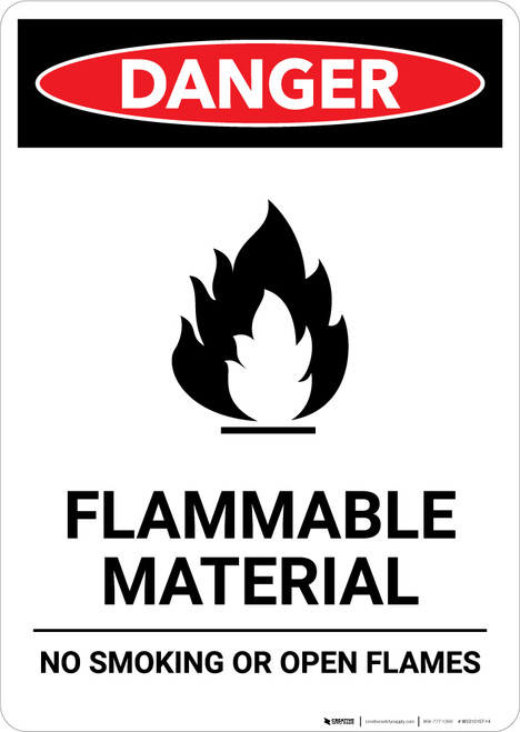 Flammable Material with Icon - Portrait Wall Sign