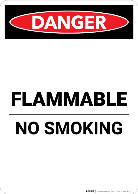 Flammable No Smoking - Portrait Wall Sign