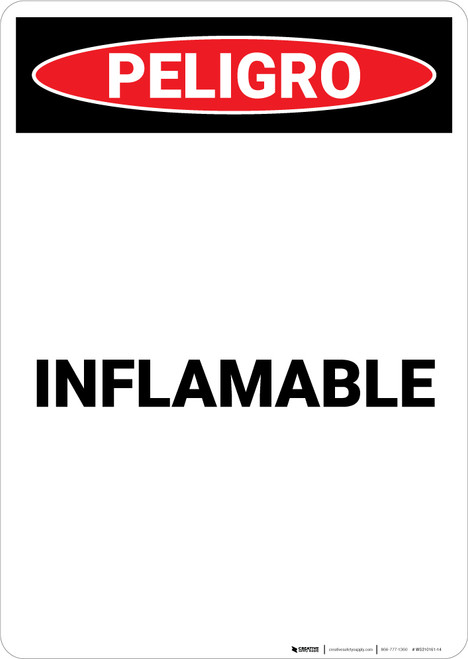 Flammable Spanish - Portrait Wall Sign