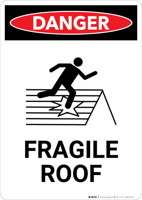 Fragile Roof with Icon - Portrait Wall Sign