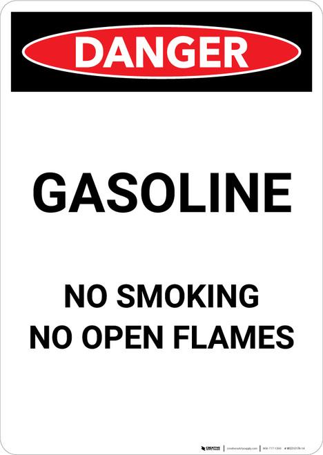 Gasoline - No Open Flame - Portrait Wall Sign