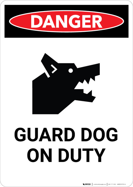 Guard Dog on Duty with Icon - Portrait Wall Sign
