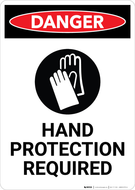 Hand Protection Required with Icon - Portrait Wall Sign