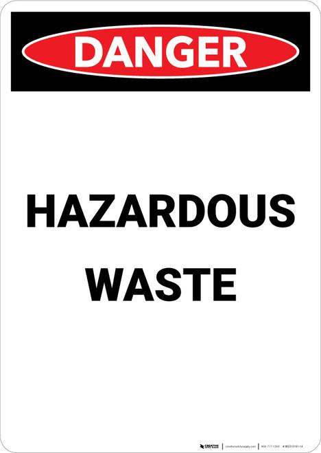 Hazardous Waste - Portrait Wall Sign