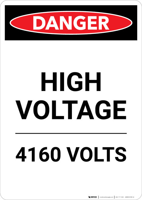 High Voltage 4160 Volts - Portrait Wall Sign