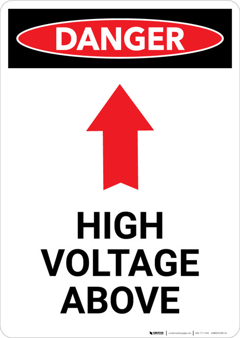 High Voltage Above With Arrow - Portrait Wall Sign