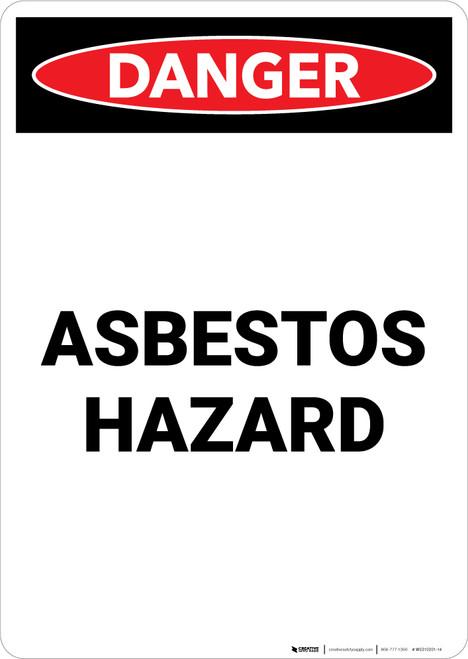 Asbestos Hazard - Portrait Wall Sign