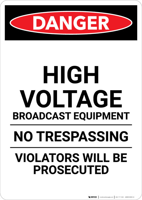 High Voltage Broadcast Equipment - Portrait Wall Sign