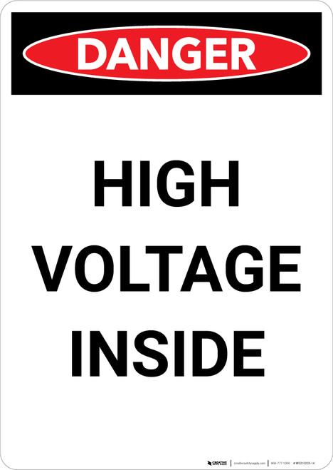 High Voltage Inside - Portrait Wall Sign