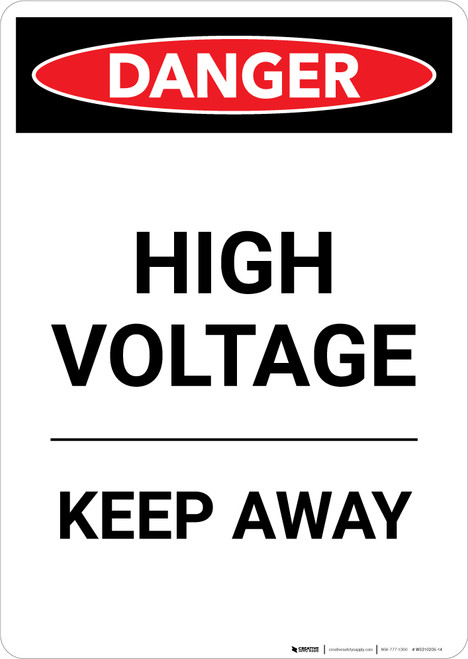 High Voltage Keep Away - Portrait Wall Sign