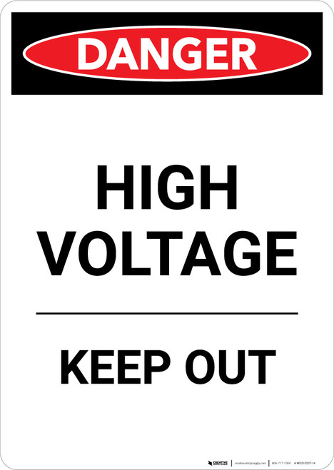 High Voltage Keep Out - Portrait Wall Sign