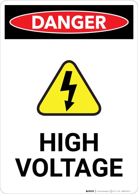 High Voltage With Hazard Icon - Portrait Wall Sign