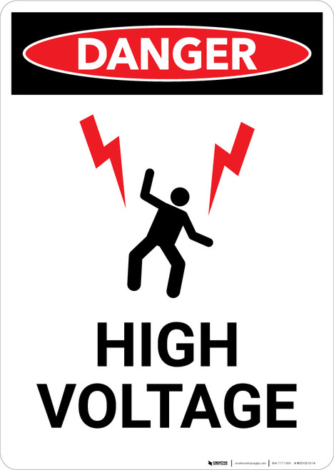 High Voltage With Lightning Bolts Graphic - Portrait Wall Sign