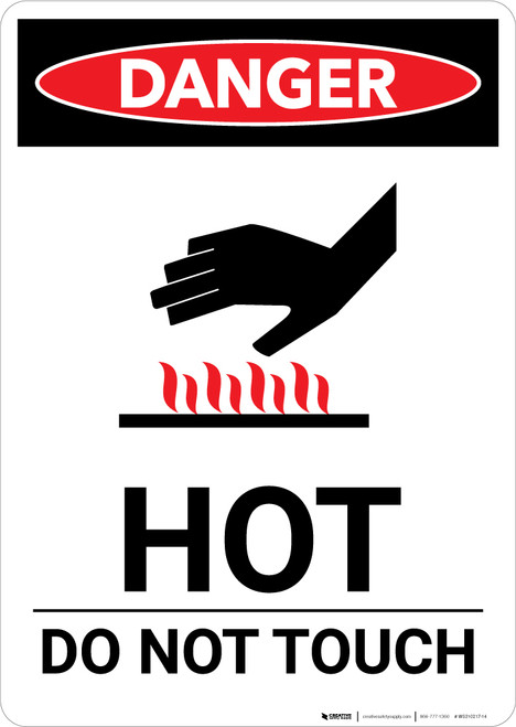 Hot Do Not Touch Sign With Icon - Portrait Wall Sign