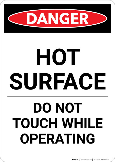 Hot Surface Do Not Touch - Portrait Wall Sign
