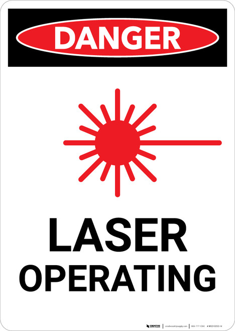 Laser Operating with Icon - Portrait Wall Sign