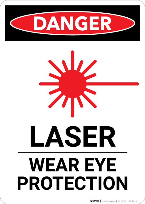 Laser Wear Eye Protection with Icon - Portrait Wall Sign