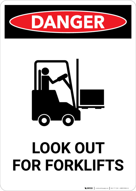 Look Out For Forklifts with Icon - Portrait Wall Sign