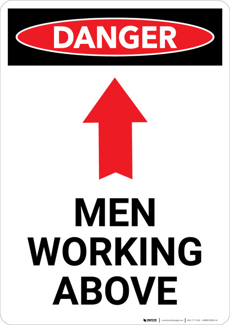 Men Working Above Sign With Arrow - Portrait Wall Sign