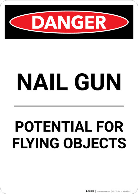 Nail Gun Flying Objects - Portrait Wall Sign
