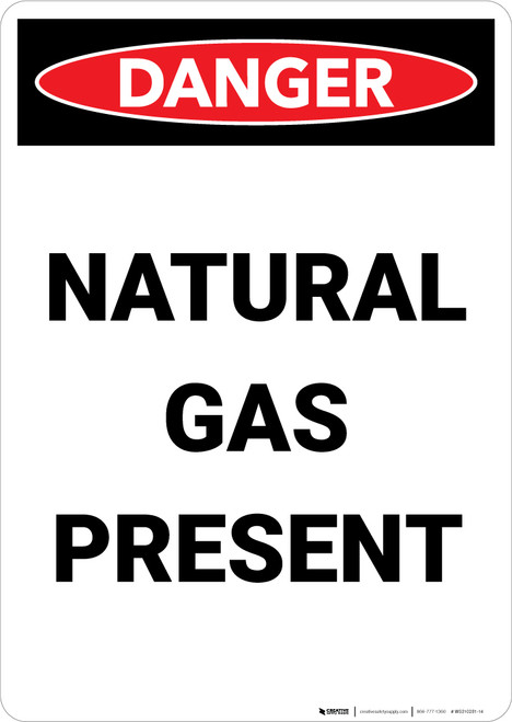 Natural Gas Present - Portrait Wall Sign
