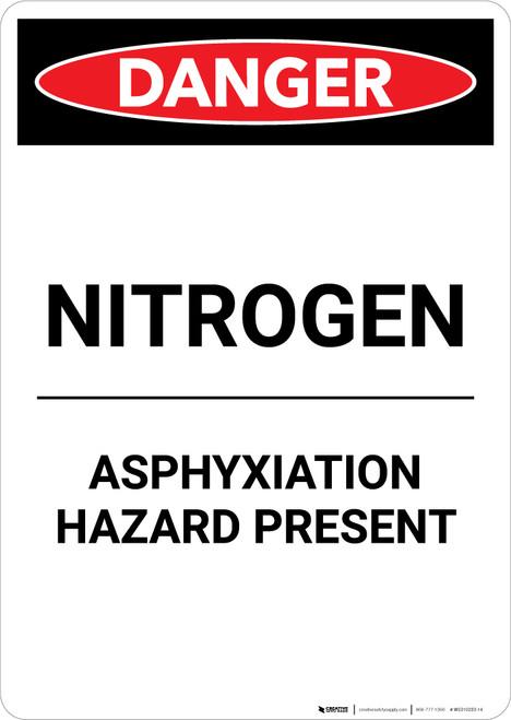 Nitrogen Asphyxiation Hazard Present - Portrait Wall Sign