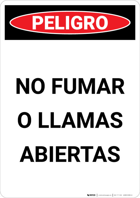 No Smoking And Open Flame - Spanish - Portrait Wall Sign