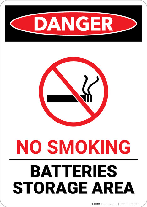 No Smoking Battery Storage with Icon - Portrait Wall Sign