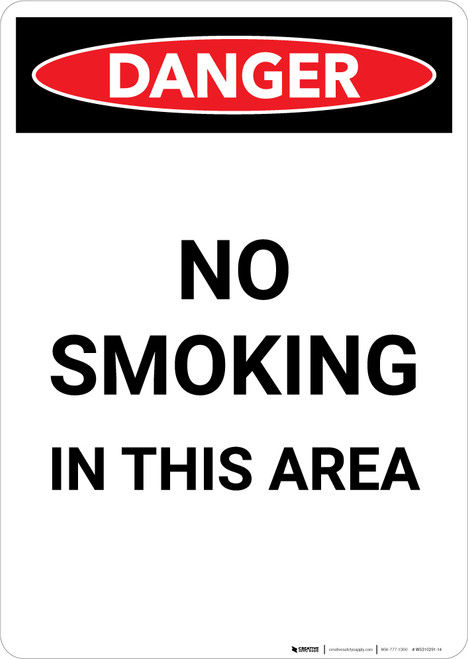 No Smoking In This Area - Portrait Wall Sign