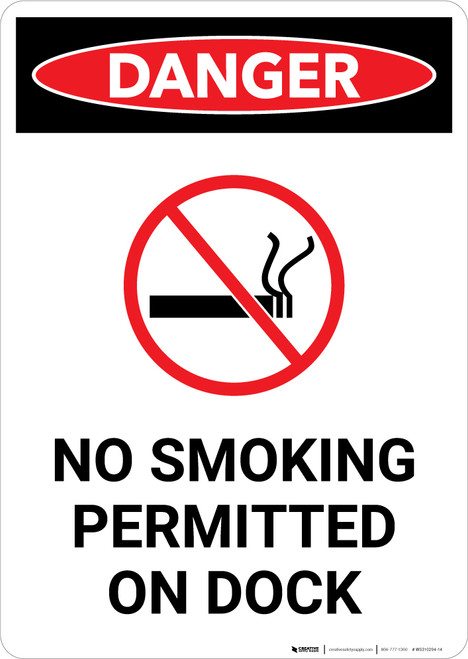 No Smoking Permitted On Dock With Symbol - Portrait Wall Sign