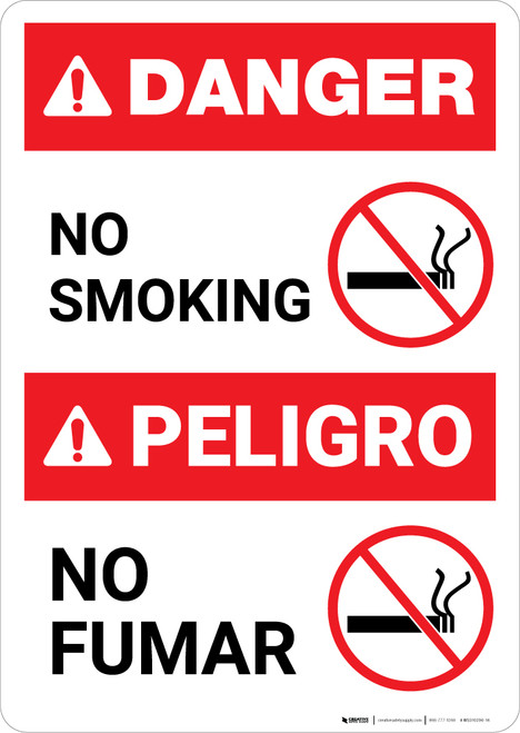 No Smoking With Graphic Bilingual Spanish - Portrait Wall Sign