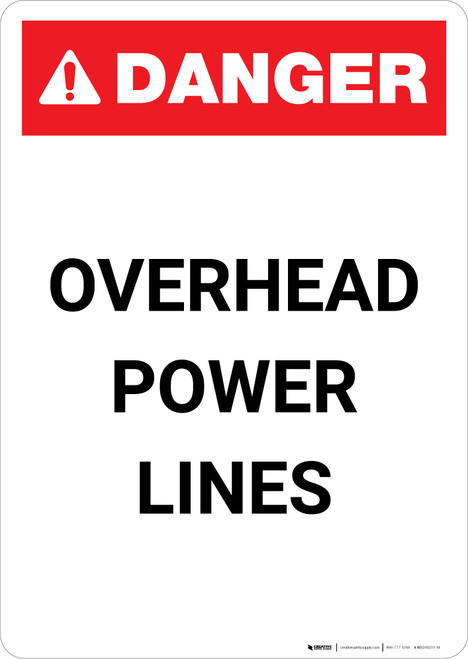 Overhead Power Lines - Portrait Wall Sign