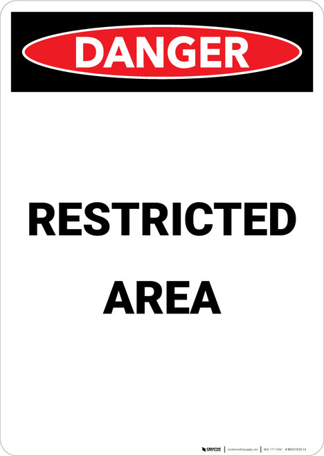 Restricted Area - Portrait Wall Sign