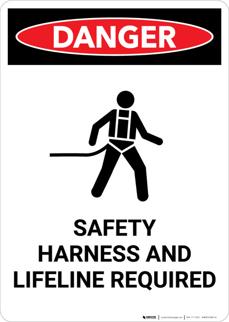 Safety Harness and Lifeline Required with Icon - Portrait Wall Sign