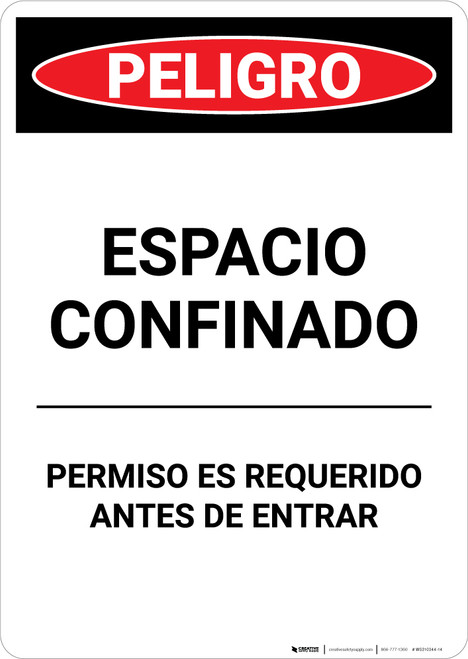 Spanish Permit Required - Portrait Wall Sign