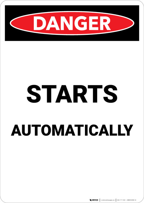 Starts Automatically - Portrait Wall Sign