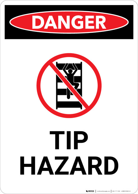 Tip Hazard with Icon - Portrait Wall Sign