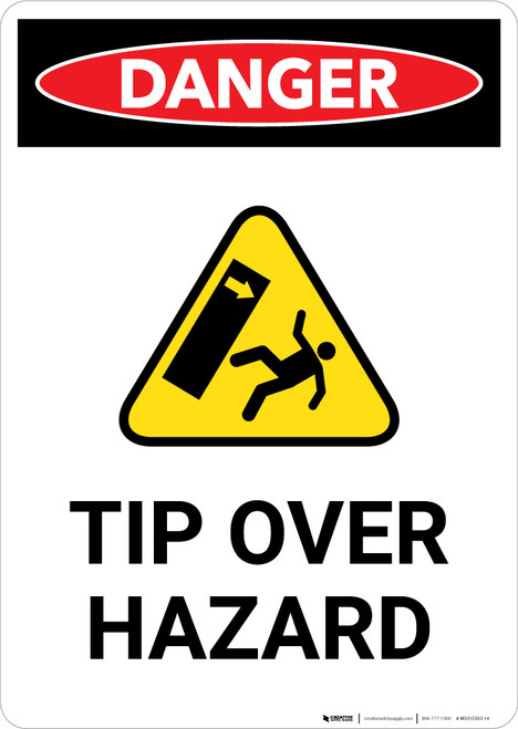 Tip Over Hazard with Icon - Portrait Wall Sign