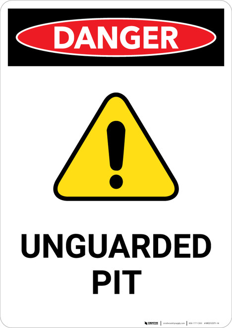 Unguarded Pit with Hazard Icon - Portrait Wall Sign