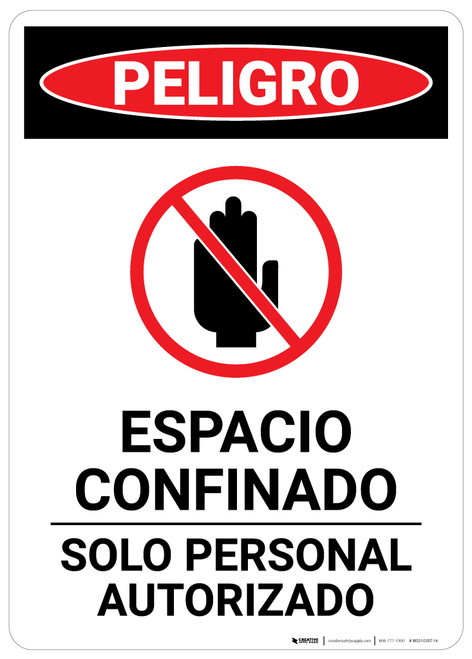 Confined Space Spanish - Portrait Wall Sign