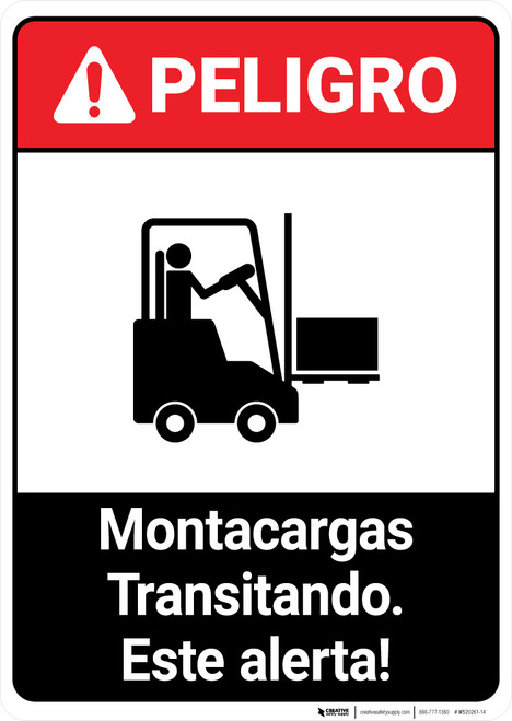 Forklift Traffic Spanish ANSI - Portrait Wall Sign