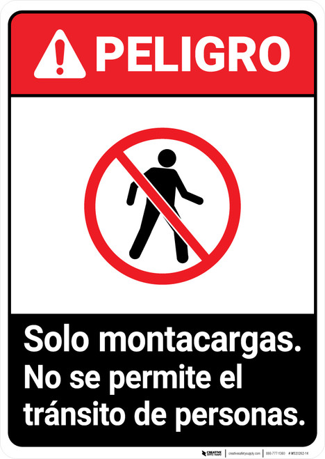 Forklifts Only Spanish ANSI - Portrait Wall Sign